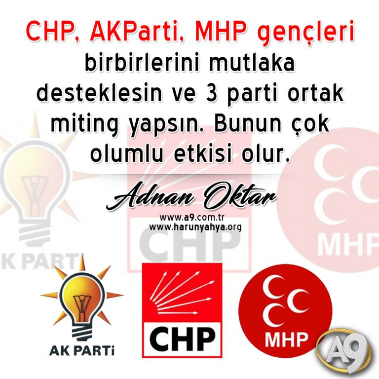 "<table style=""width: 100%;""><tr><td style=""vertical-align: middle;"">CHP, AKParti, MHP gençleri birbirlerini mutlaka desteklesin ve 3 parti ortak miting yapsın. Bunun çok olumlu etkisi olur.</td><td style=""max-width: 70px;vertical-align: middle;""> <a href=""/downloadquote.php?filename=quoteofday_14687672086005.jpg""><img class=""hoversaturate"" height=""20px"" src=""/assets/images/download-iconu.png"" style=""width: 48px; height: 48px;"" title=""Resmi İndir""/></a></td></tr></table>"